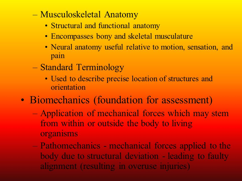 Understanding the Sport –More knowledge of sport allows for more inherent knowledge of injuries associated with sport and better injury assessment –Must be aware of proper biomechanical and kinesiological principles to be applied in activity –Violation of principles can lead to repetitive overuse trauma Descriptive Assessment Terms –Etiology - cause of injury or disease –Pathology - structural and functional changes associated with injury process –Symptoms- perceptible changes in body or function that indicate injury or illness (subjective)