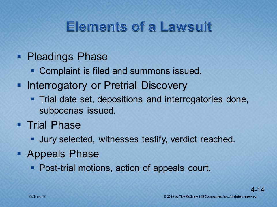 4-14 Pleadings Phase Complaint is filed and summons issued. Interrogatory or Pretrial Discovery Trial date set, depositions and interrogatories done,