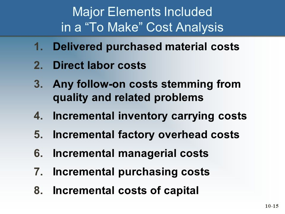 10-15 Major Elements Included in a To Make Cost Analysis 1.Delivered purchased material costs 2.Direct labor costs 3.Any follow-on costs stemming from quality and related problems 4.Incremental inventory carrying costs 5.Incremental factory overhead costs 6.Incremental managerial costs 7.Incremental purchasing costs 8.Incremental costs of capital