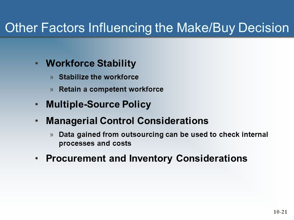 10-21 Other Factors Influencing the Make/Buy Decision Workforce Stability »Stabilize the workforce »Retain a competent workforce Multiple-Source Policy Managerial Control Considerations »Data gained from outsourcing can be used to check internal processes and costs Procurement and Inventory Considerations