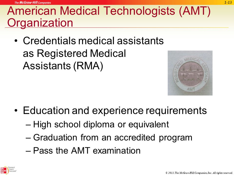 © 2011 The McGraw-Hill Companies, Inc. All rights reserved. Certified Medical Assistant (CMA) CMA(AAMA) credential is awarded by the Certifying Board