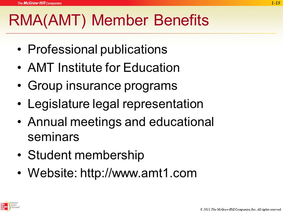 © 2011 The McGraw-Hill Companies, Inc. All rights reserved. CMA(AAMA) Member Benefits Professional publications Educational opportunities Group insura