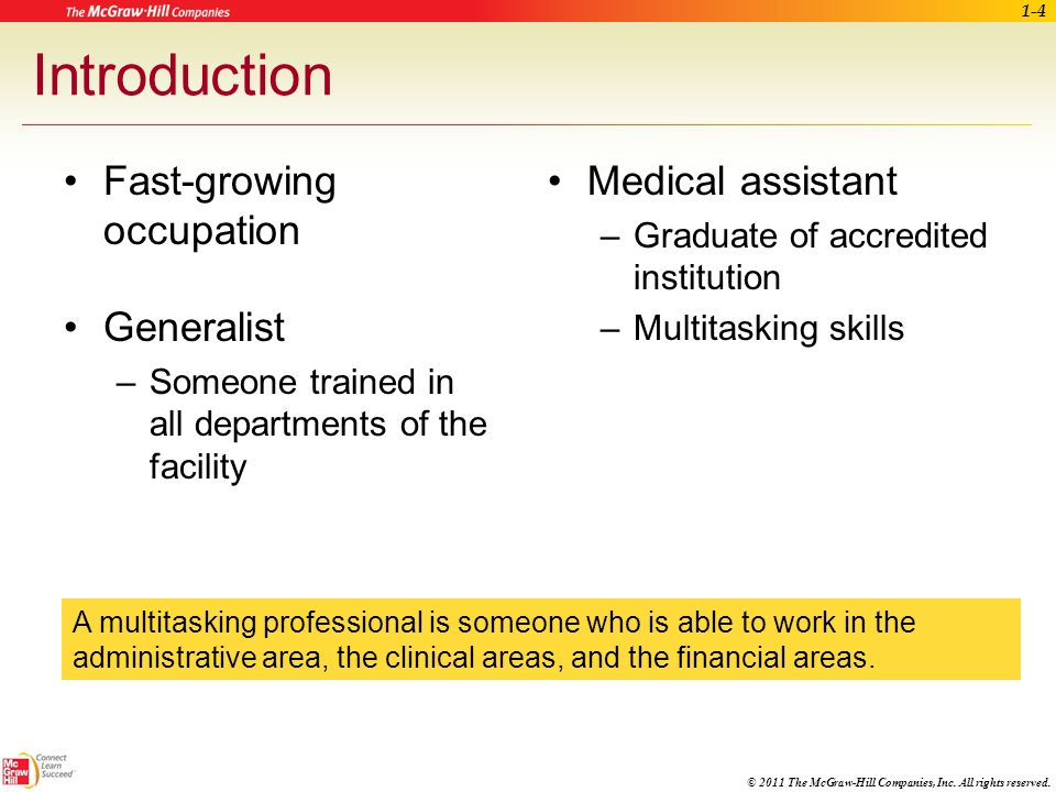 © 2011 The McGraw-Hill Companies, Inc. All rights reserved. Learning Outcomes (cont.) 1.5 Explain the importance of continuing education for a medical