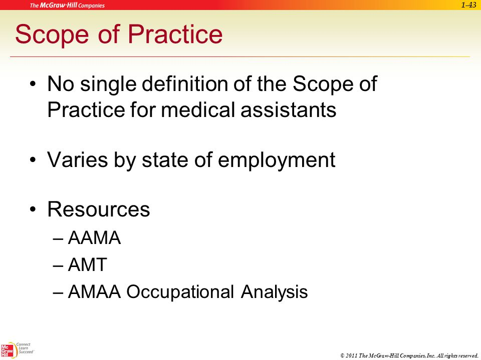 © 2011 The McGraw-Hill Companies, Inc. All rights reserved. AAMA Occupational Analysis Areas of competence for entry-level medical assistants Provides