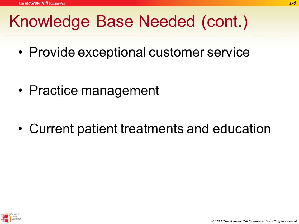 © 2011 The McGraw-Hill Companies, Inc. All rights reserved. Knowledge Base Needed Administrative and clinical skills Patient insurance product knowled