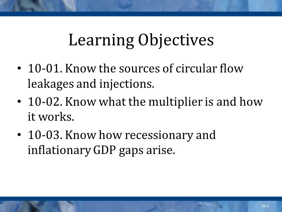 10-3 Learning Objectives 10-01. Know the sources of circular flow leakages and injections. 10-02. Know what the multiplier is and how it works. 10-03.
