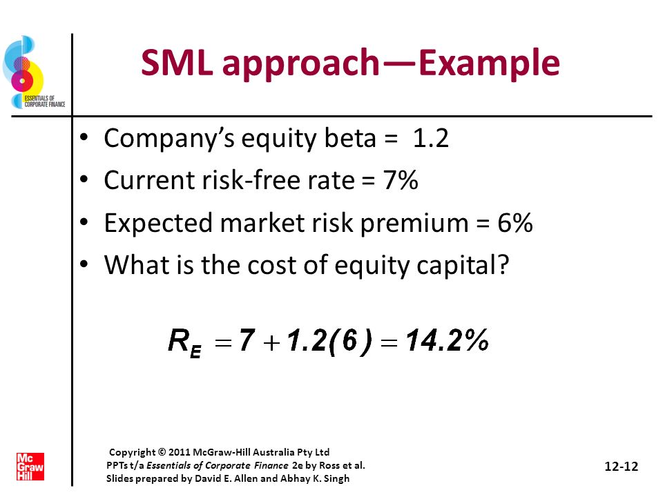 SML approachExample Companys equity beta = 1.2 Current risk-free rate = 7% Expected market risk premium = 6% What is the cost of equity capital? 12-12