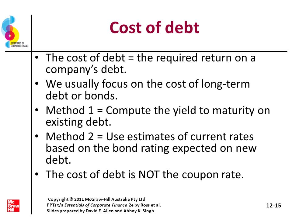 Cost of debt The cost of debt = the required return on a companys debt. We usually focus on the cost of long-term debt or bonds. Method 1 = Compute th