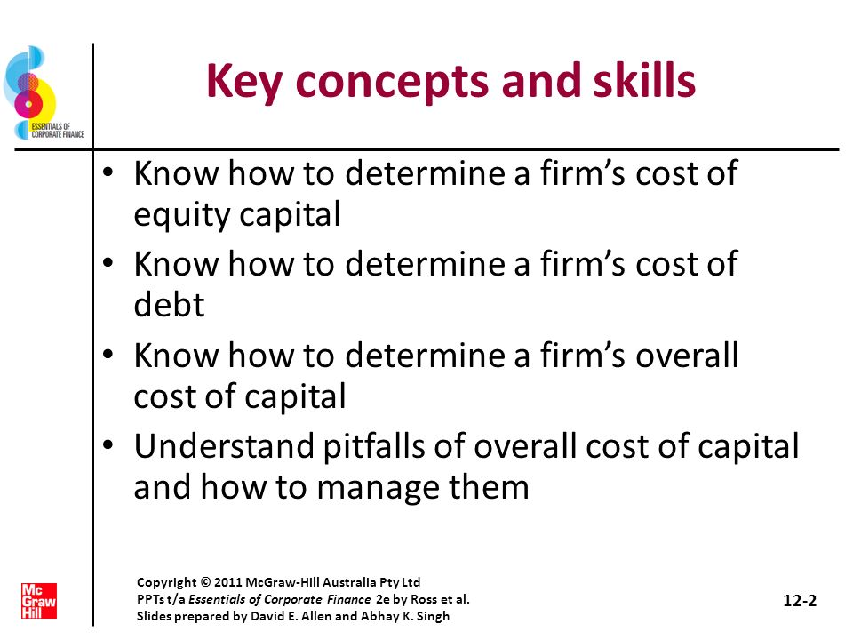 Chapter outline The cost of capital: Some preliminaries The cost of equity The costs of debt and preferred stock The weighted average cost of capital Divisional and project costs of capital 12-3 Copyright © 2011 McGraw-Hill Australia Pty Ltd PPTs t/a Essentials of Corporate Finance 2e by Ross et al.
