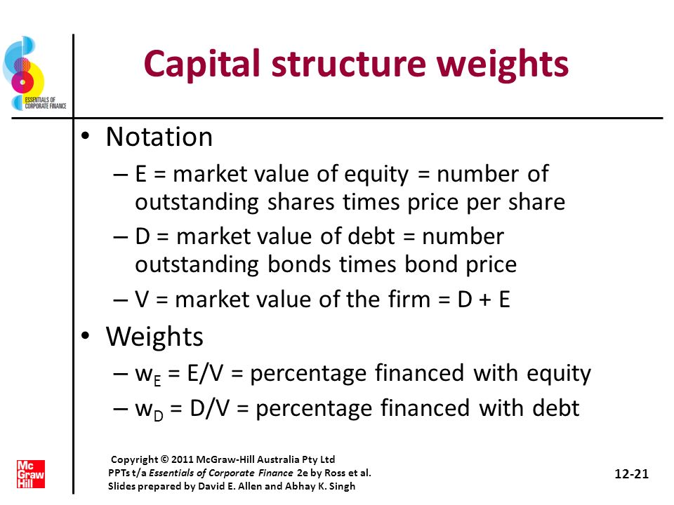 Capital structure weights Notation – E = market value of equity = number of outstanding shares times price per share – D = market value of debt = numb