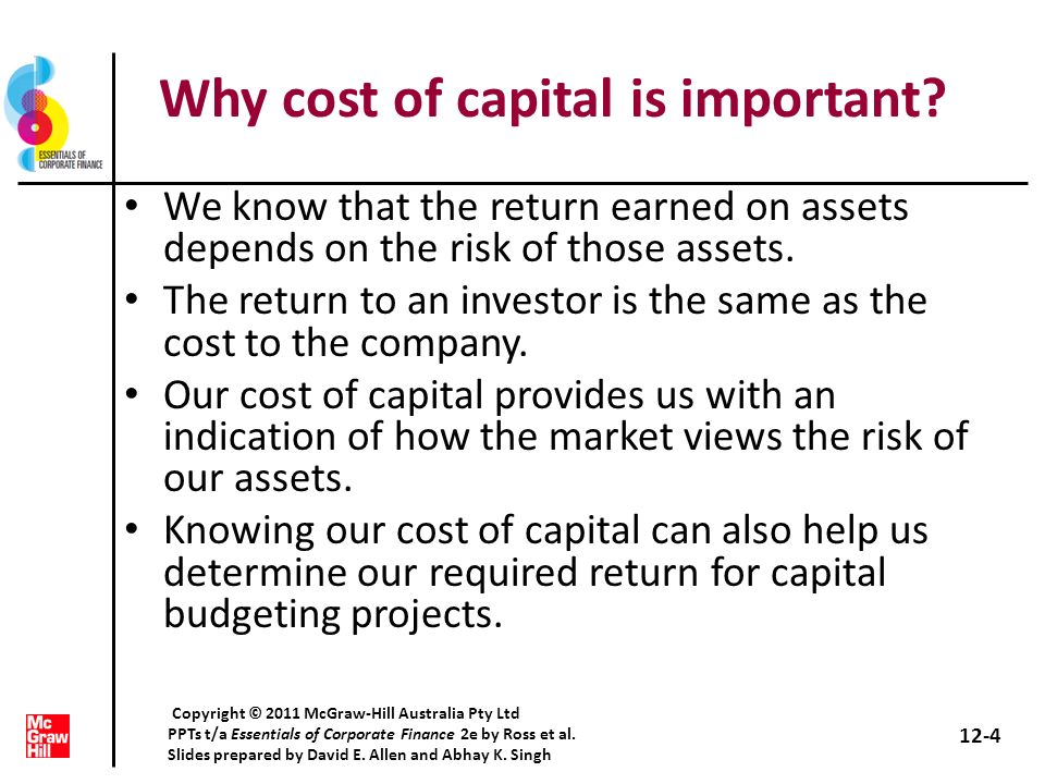 Why cost of capital is important? We know that the return earned on assets depends on the risk of those assets. The return to an investor is the same