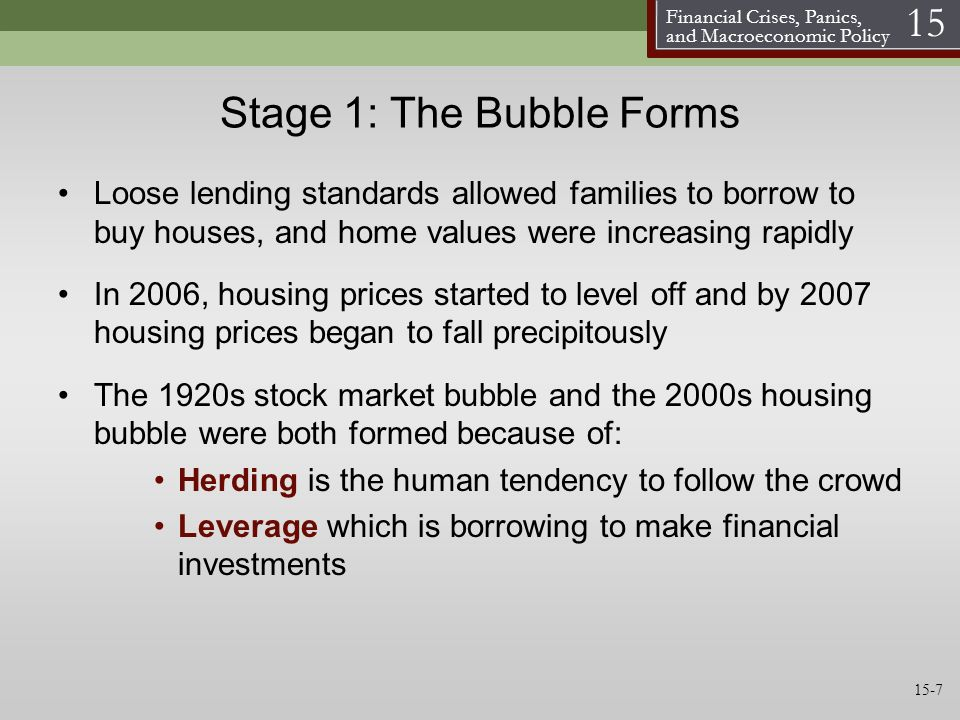 Financial Crises, Panics, and Macroeconomic Policy 15 Stage 1: The Bubble Forms Loose lending standards allowed families to borrow to buy houses, and home values were increasing rapidly In 2006, housing prices started to level off and by 2007 housing prices began to fall precipitously The 1920s stock market bubble and the 2000s housing bubble were both formed because of: Herding is the human tendency to follow the crowd Leverage which is borrowing to make financial investments 15-7
