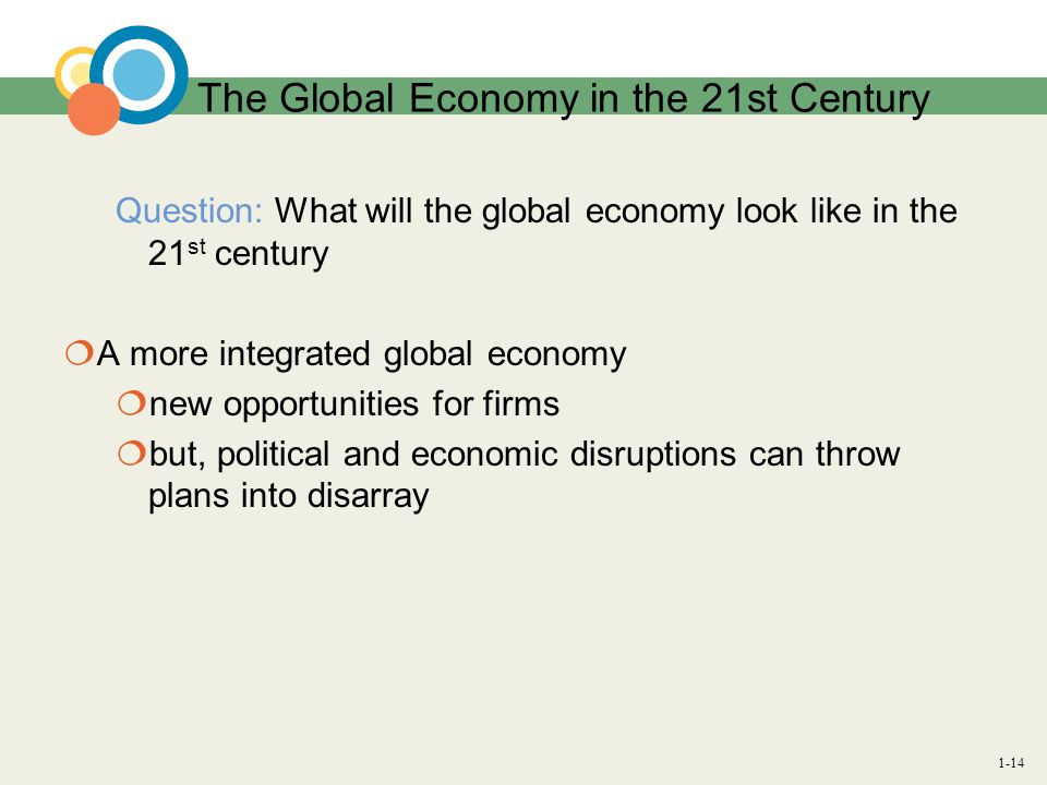 1-14 The Global Economy in the 21st Century Question: What will the global economy look like in the 21 st century A more integrated global economy new