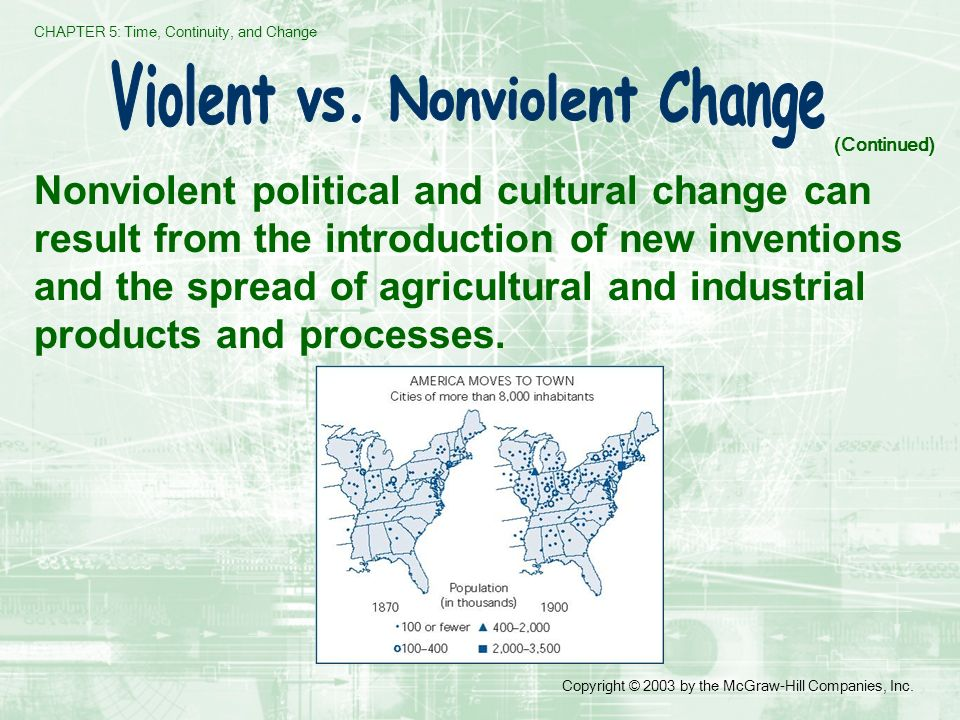 CHAPTER 5: Time, Continuity, and Change Copyright © 2003 by the McGraw-Hill Companies, Inc. Nonviolent political and cultural change can result from t