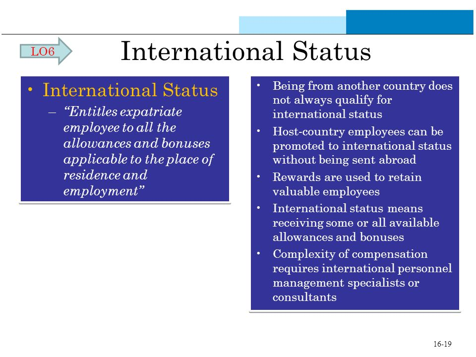 International Status – Entitles expatriate employee to all the allowances and bonuses applicable to the place of residence and employment Internationa