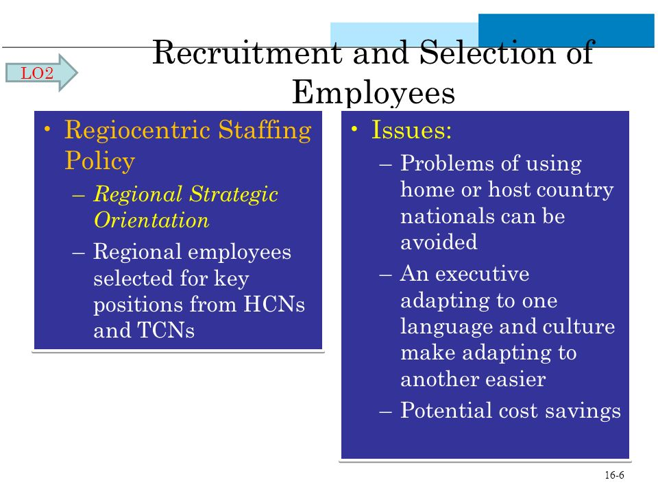 Recruitment and Selection of Employees Regiocentric Staffing Policy – Regional Strategic Orientation –Regional employees selected for key positions fr
