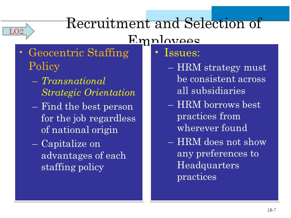 Recruitment and Selection of Employees Geocentric Staffing Policy – Transnational Strategic Orientation –Find the best person for the job regardless o