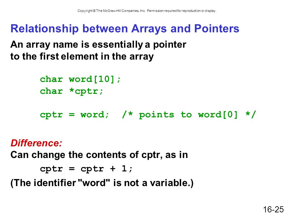 Copyright © The McGraw-Hill Companies, Inc. Permission required for reproduction or display. 16-25 Relationship between Arrays and Pointers An array n