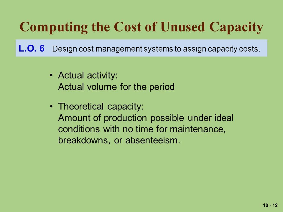 Computing the Cost of Unused Capacity L.O.