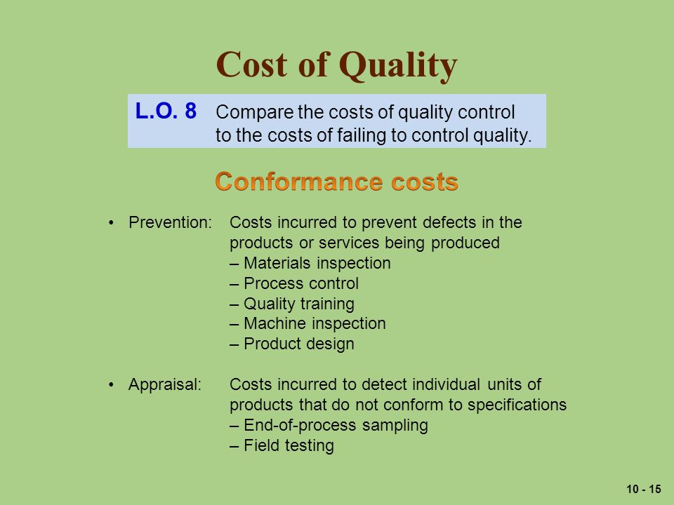Cost of Quality L.O.