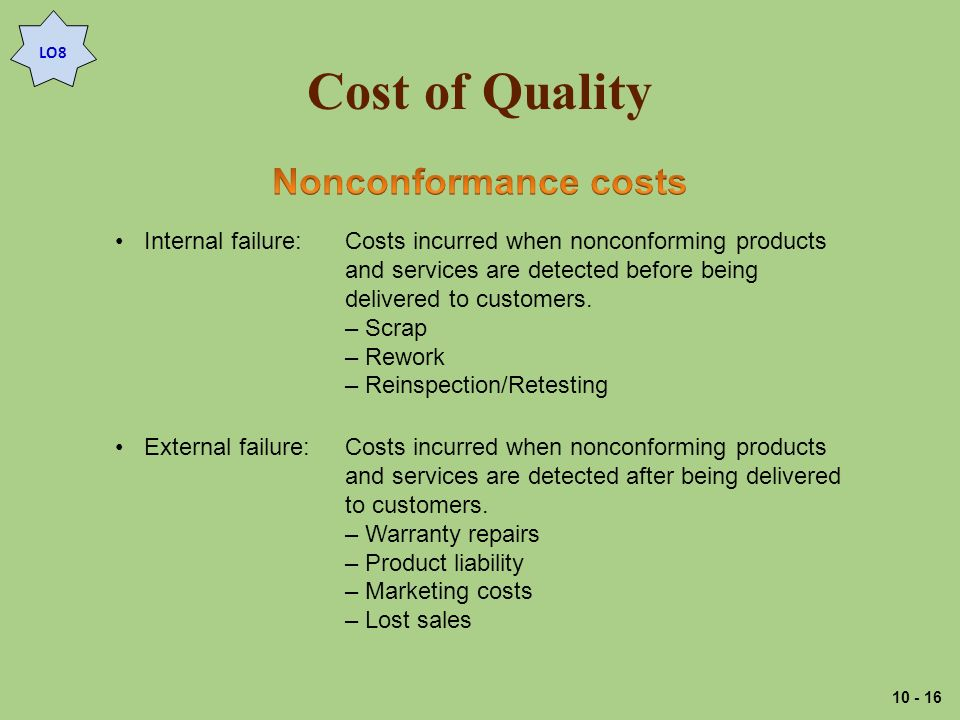 Cost of Quality LO8 Internal failure:Costs incurred when nonconforming products and services are detected before being delivered to customers.