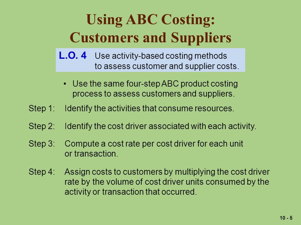 Using ABC Costing: Customers and Suppliers L.O.