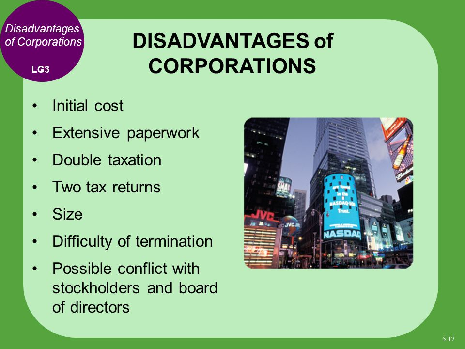 Disadvantages of Corporations Initial cost Extensive paperwork Double taxation Two tax returns Size Difficulty of termination Possible conflict with stockholders and board of directors DISADVANTAGES of CORPORATIONS LG3 5-17