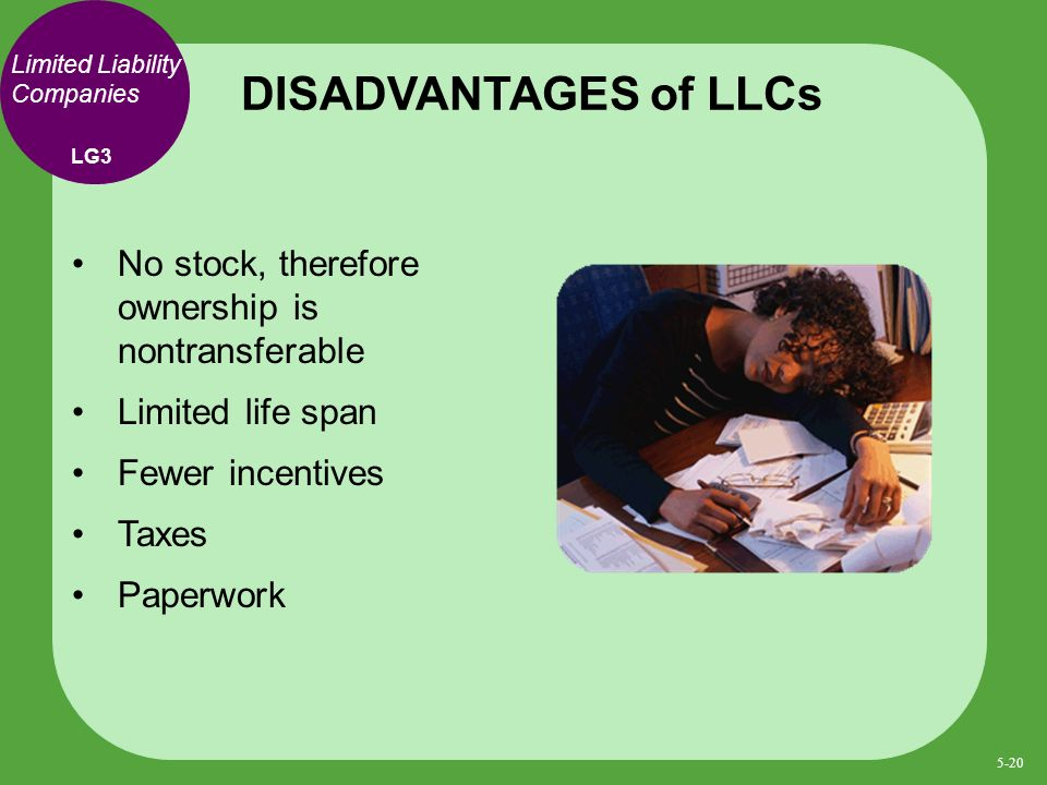 No stock, therefore ownership is nontransferable Limited life span Fewer incentives Taxes Paperwork DISADVANTAGES of LLCs LG3 Limited Liability Companies 5-20
