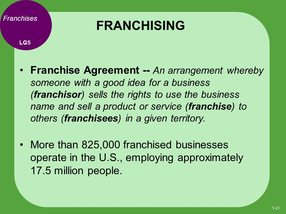 Franchises Franchise Agreement -- An arrangement whereby someone with a good idea for a business (franchisor) sells the rights to use the business name and sell a product or service (franchise) to others (franchisees) in a given territory.
