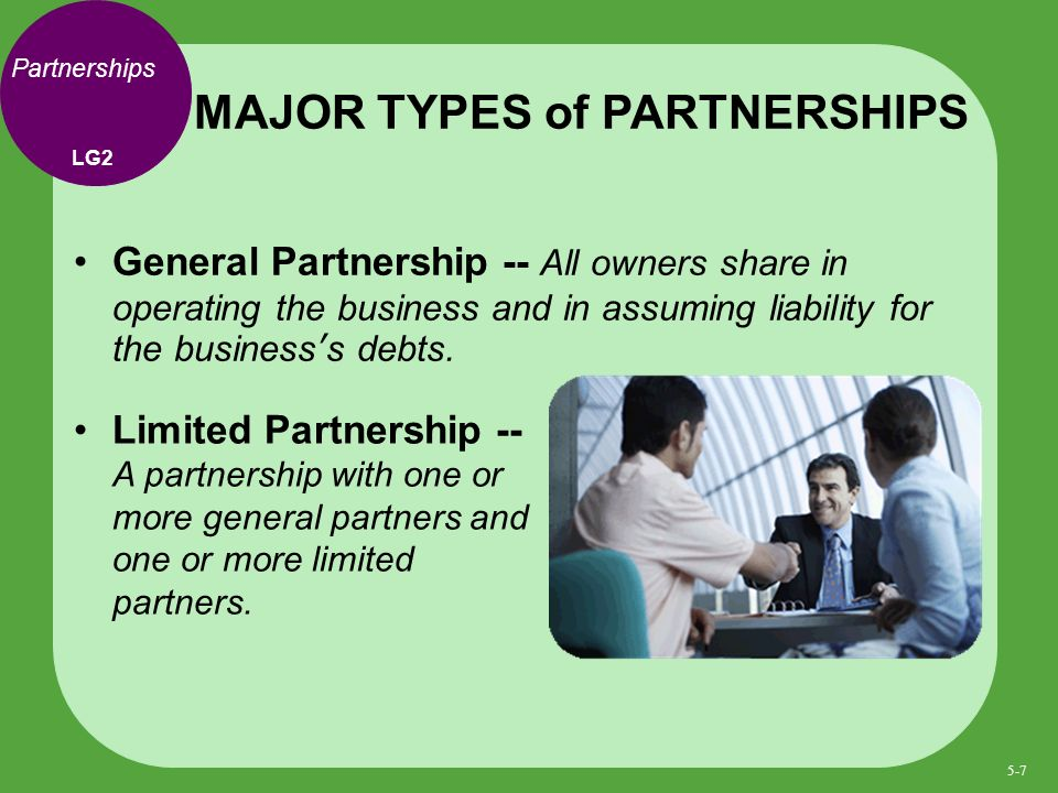 Partnerships General Partnership -- All owners share in operating the business and in assuming liability for the businesss debts.