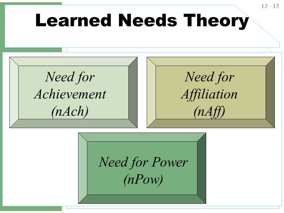 13 - 13 Learned Needs Theory Need for Achievement (nAch) Need for Affiliation (nAff) Need for Power (nPow)