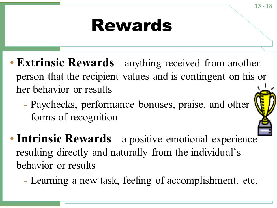 13 - 18 Rewards Extrinsic Rewards – anything received from another person that the recipient values and is contingent on his or her behavior or result