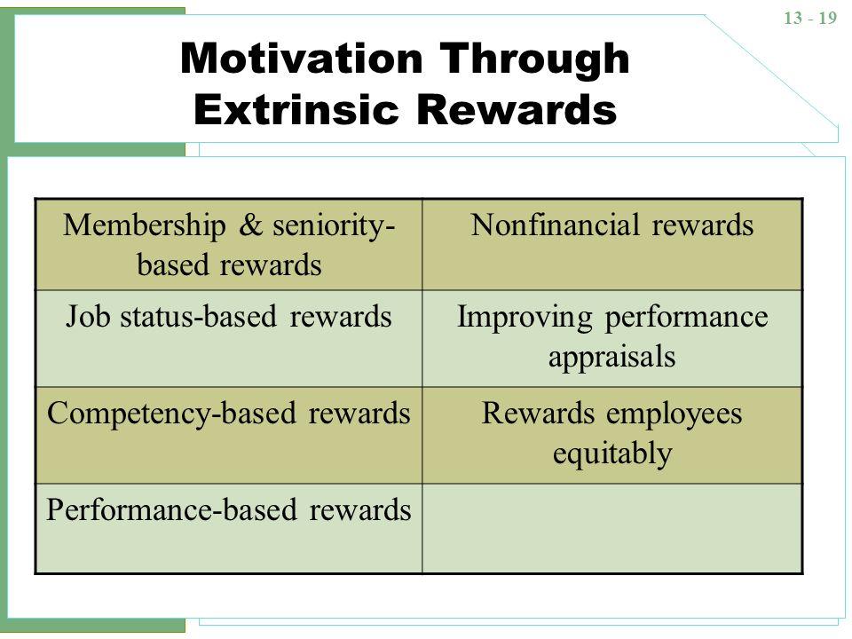 13 - 19 Motivation Through Extrinsic Rewards Membership & seniority- based rewards Nonfinancial rewards Job status-based rewardsImproving performance