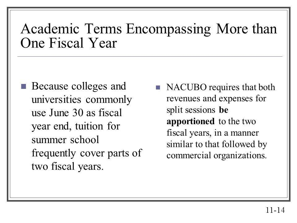 11-14 Academic Terms Encompassing More than One Fiscal Year Because colleges and universities commonly use June 30 as fiscal year end, tuition for sum