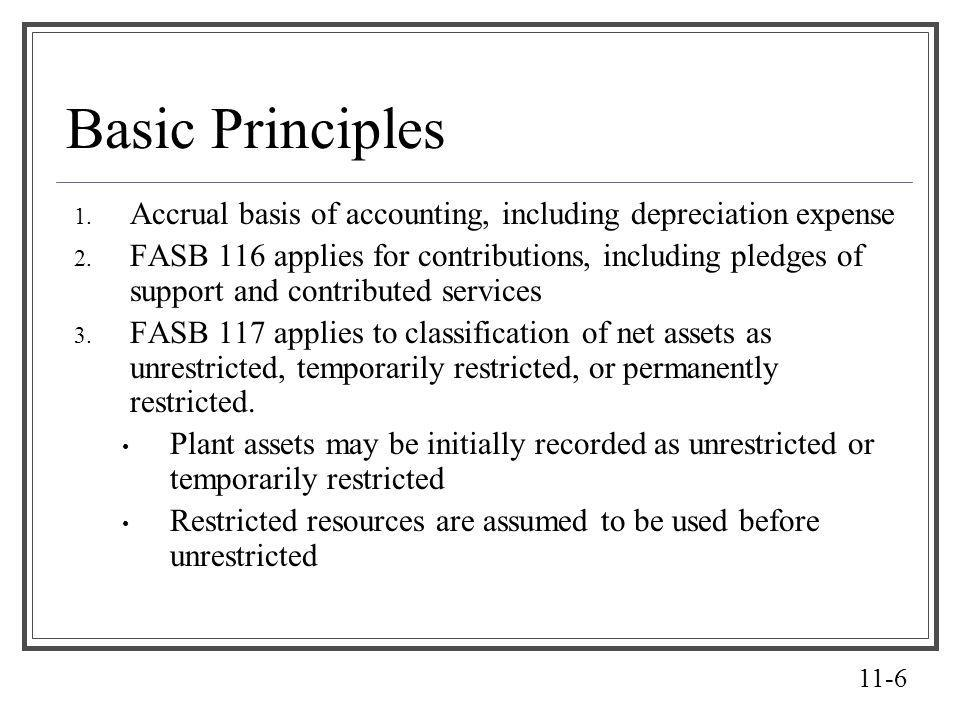11-6 Basic Principles 1. Accrual basis of accounting, including depreciation expense 2. FASB 116 applies for contributions, including pledges of suppo