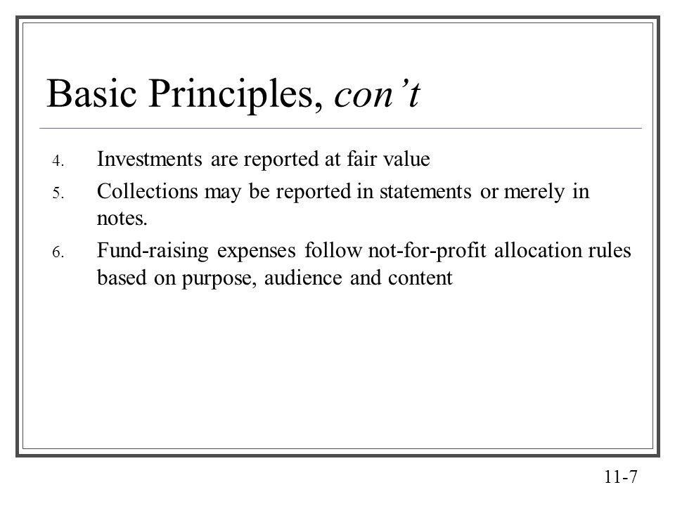 11-7 Basic Principles, cont 4. Investments are reported at fair value 5. Collections may be reported in statements or merely in notes. 6. Fund-raising