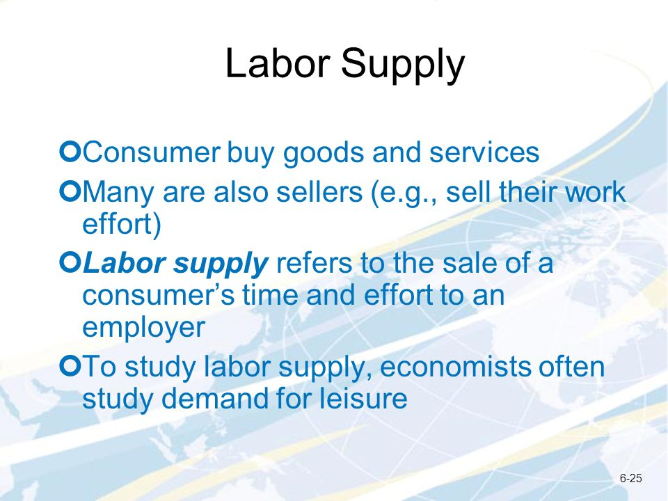 Labor Supply Consumer buy goods and services Many are also sellers (e.g., sell their work effort) Labor supply refers to the sale of a consumers time