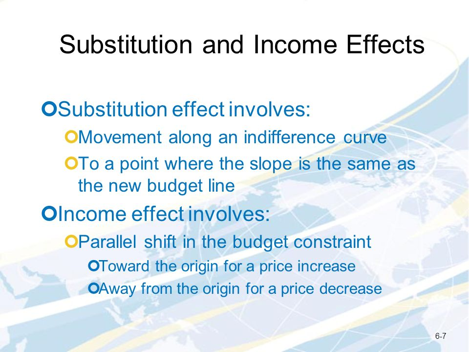 Substitution and Income Effects Substitution effect involves: Movement along an indifference curve To a point where the slope is the same as the new b
