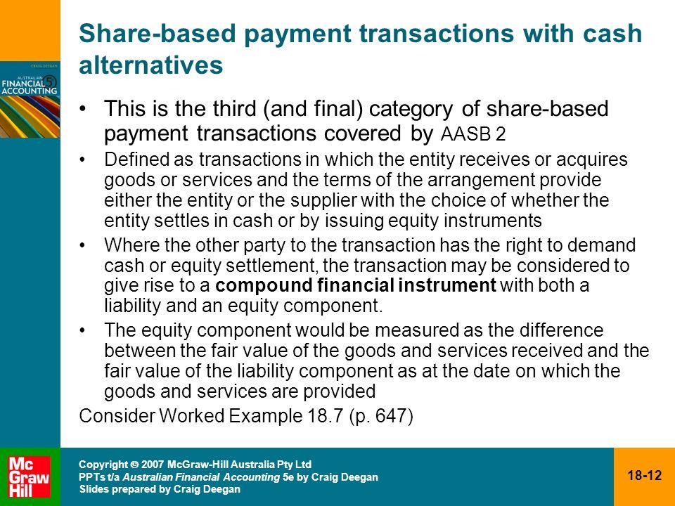 18-12 Copyright 2007 McGraw-Hill Australia Pty Ltd PPTs t/a Australian Financial Accounting 5e by Craig Deegan Slides prepared by Craig Deegan Share-b