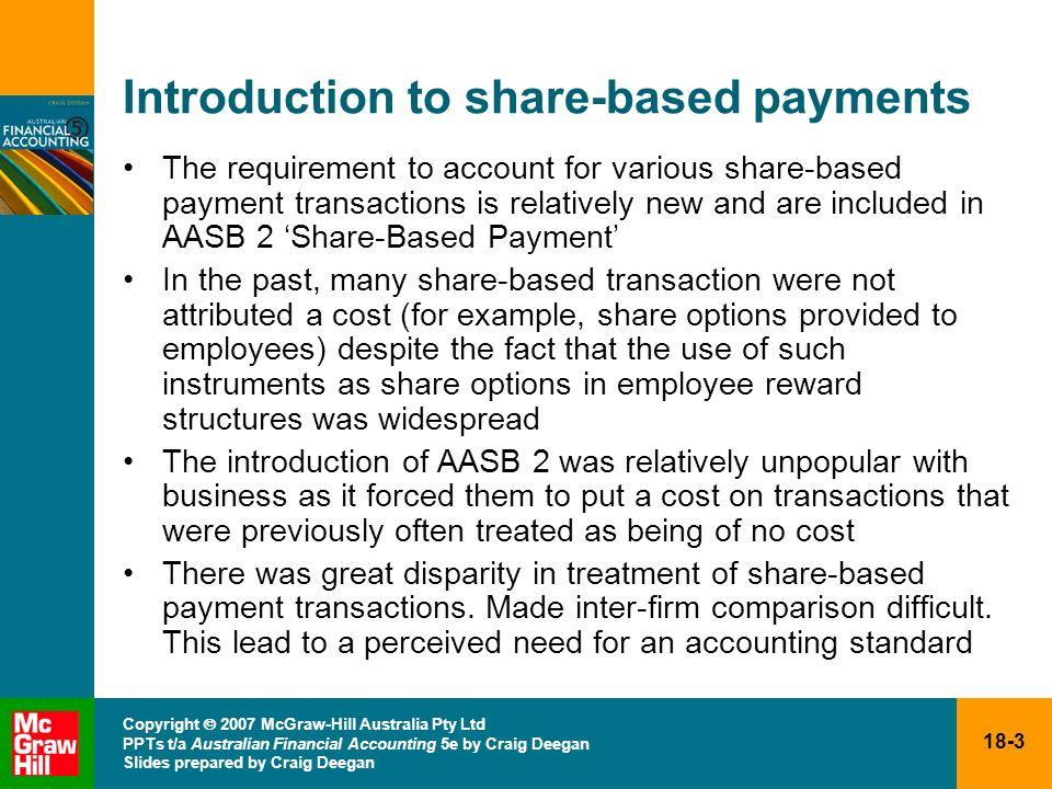 18-3 Copyright 2007 McGraw-Hill Australia Pty Ltd PPTs t/a Australian Financial Accounting 5e by Craig Deegan Slides prepared by Craig Deegan Introduc