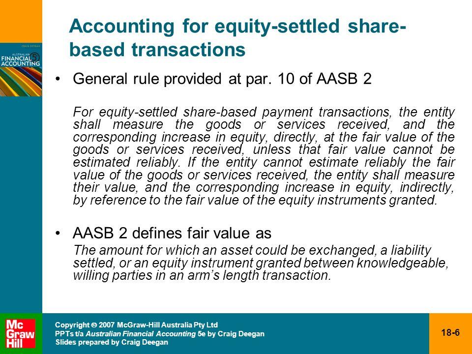18-6 Copyright 2007 McGraw-Hill Australia Pty Ltd PPTs t/a Australian Financial Accounting 5e by Craig Deegan Slides prepared by Craig Deegan Accounti