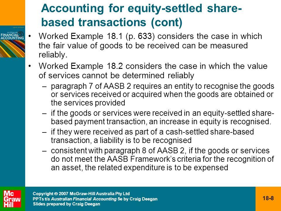 18-8 Copyright 2007 McGraw-Hill Australia Pty Ltd PPTs t/a Australian Financial Accounting 5e by Craig Deegan Slides prepared by Craig Deegan Accounti