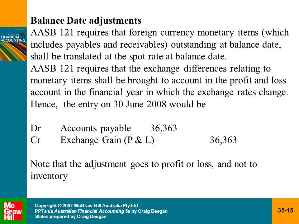 35-15 Copyright 2007 McGraw-Hill Australia Pty Ltd PPTs t/a Australian Financial Accounting 5e by Craig Deegan Slides prepared by Craig Deegan Balance