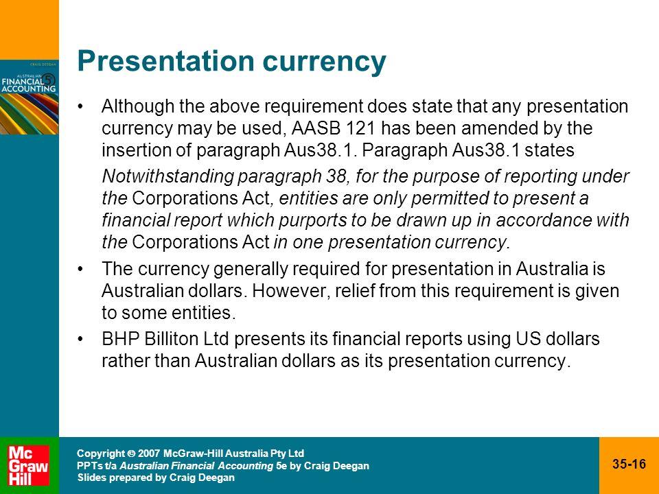 35-16 Copyright 2007 McGraw-Hill Australia Pty Ltd PPTs t/a Australian Financial Accounting 5e by Craig Deegan Slides prepared by Craig Deegan Present