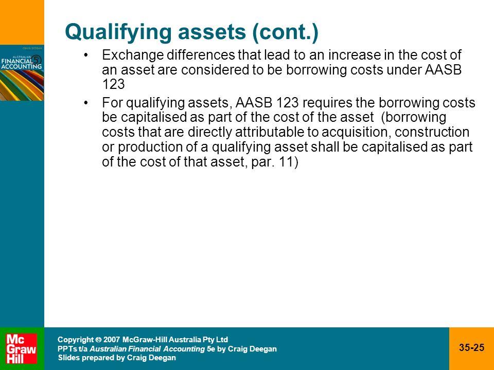 35-25 Copyright 2007 McGraw-Hill Australia Pty Ltd PPTs t/a Australian Financial Accounting 5e by Craig Deegan Slides prepared by Craig Deegan Qualify