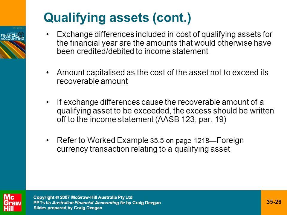 35-26 Copyright 2007 McGraw-Hill Australia Pty Ltd PPTs t/a Australian Financial Accounting 5e by Craig Deegan Slides prepared by Craig Deegan Qualify