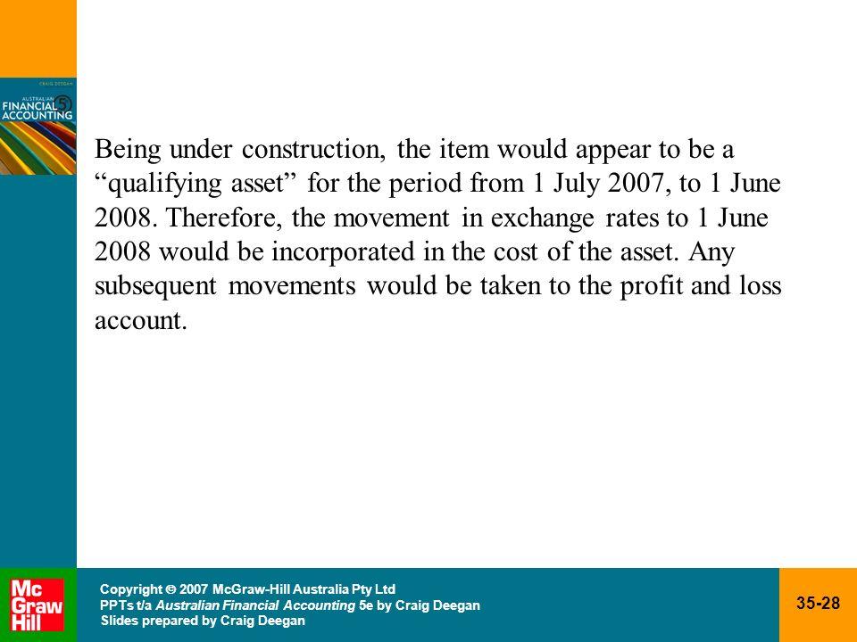 35-28 Copyright 2007 McGraw-Hill Australia Pty Ltd PPTs t/a Australian Financial Accounting 5e by Craig Deegan Slides prepared by Craig Deegan Being u