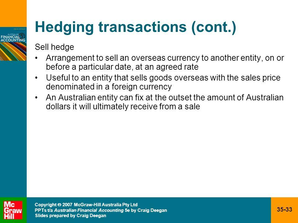 35-33 Copyright 2007 McGraw-Hill Australia Pty Ltd PPTs t/a Australian Financial Accounting 5e by Craig Deegan Slides prepared by Craig Deegan Hedging
