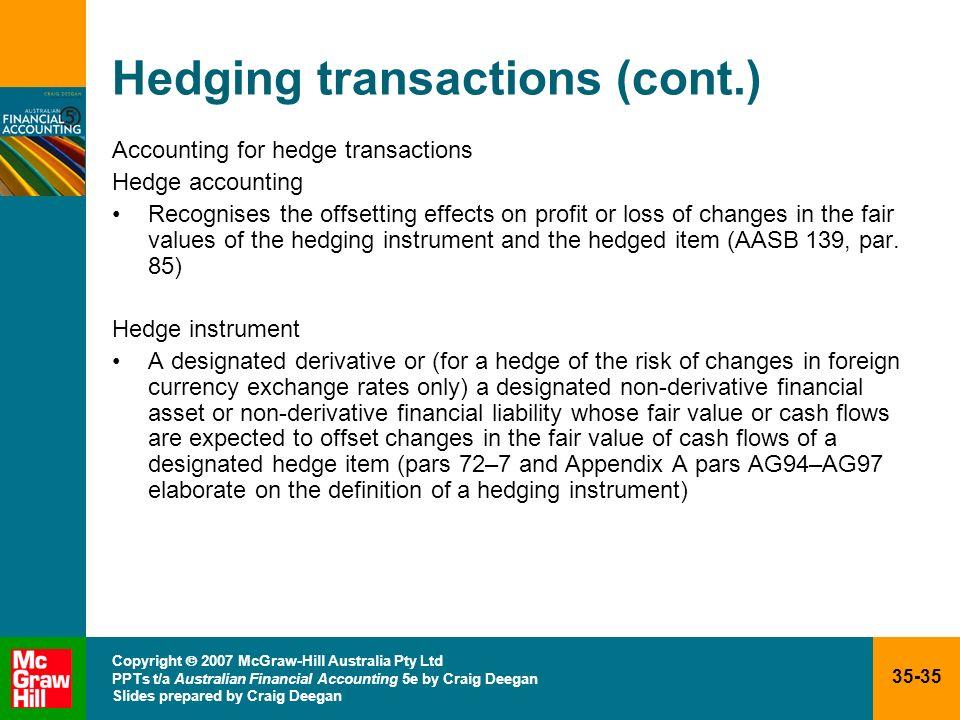 35-35 Copyright 2007 McGraw-Hill Australia Pty Ltd PPTs t/a Australian Financial Accounting 5e by Craig Deegan Slides prepared by Craig Deegan Hedging