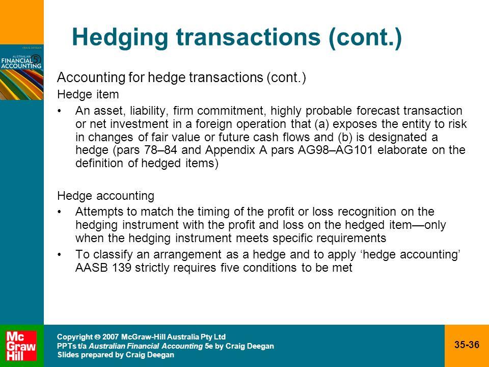 35-36 Copyright 2007 McGraw-Hill Australia Pty Ltd PPTs t/a Australian Financial Accounting 5e by Craig Deegan Slides prepared by Craig Deegan Hedging